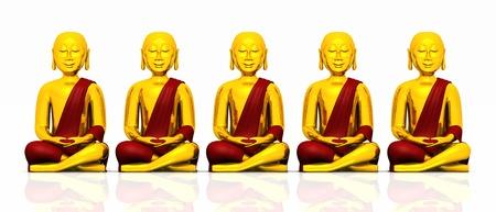 cabeza de buda: Cinco Buda de oro sobre fondo blanco - rojo Foto de archivo