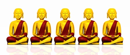 Five golden Buddha on white - red Stock Photo