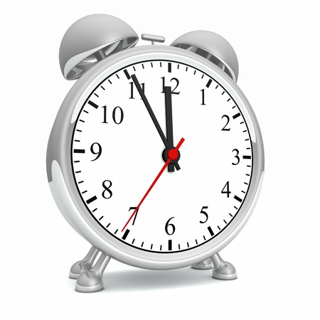 timemanagement: Silver Alarm Clock - 11 55 01 Concept Stockfoto