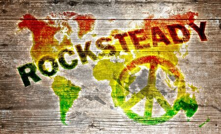 painted the cover illustration: World rocksteady music concept Stock Photo