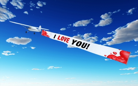Plane with Banner - I LOVE YOU Stock Photo - 14548141