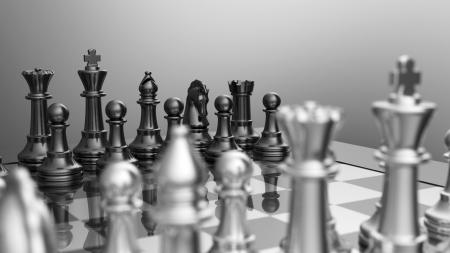 runner up: Chessboard position Silver Black Stock Photo
