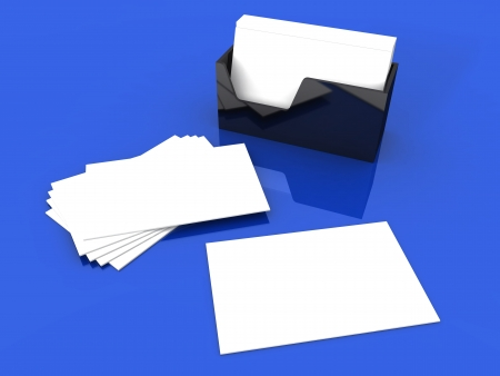 Blank Cards on White Blue photo