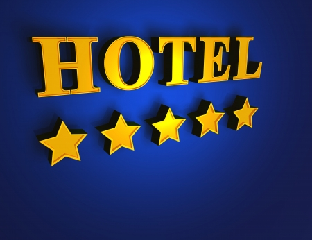 five stars: Gold Blue Hotel - 5 stars Stock Photo