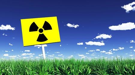 desechos toxicos: Marcador radiactivo en la hierba verde 01