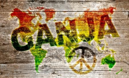 reggae: Planche de bois - Ganja et paix pour le monde