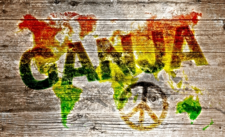 Wooden board - Ganja and peace for the world