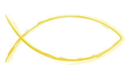 pez cristiano: Acuarelas - Ichthys Amarillo - Resumen Fish Symbol Foto de archivo
