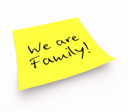 single parent: Stickies - We are Family Stock Photo