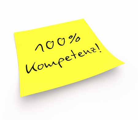 competence: Stickies - 100 competence Stock Photo