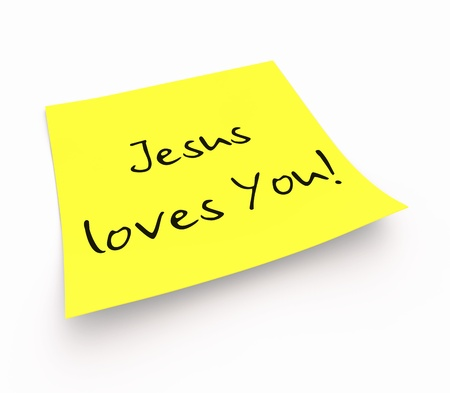loves: Stickies - Jesus Loves You Stock Photo