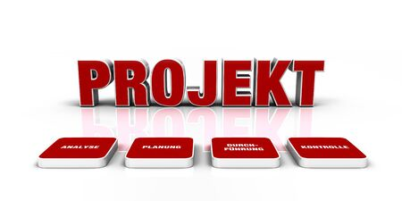 Text concept - 3D project Red 5 Stock Photo - 14586896