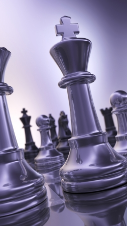chess move: Abstract chess pieces glossy