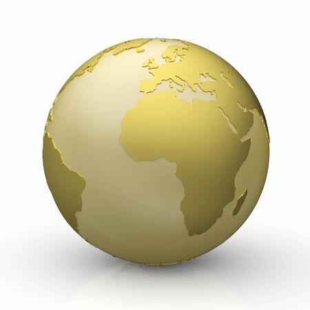 Golden Globe on white - Europe Stock Photo - 14586905