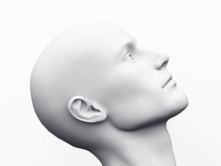 side view: White Male Head - 23 Stock Photo