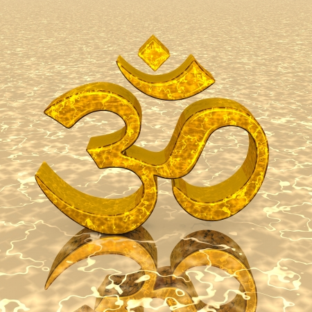 ohm symbol: 3D - Magic gold OM sign 02
