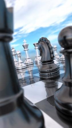 Schachbrett-Makro - Der schwarze Ritter Standard-Bild