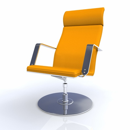 designer chair: Designer executive chair Orange Silver Stock Photo