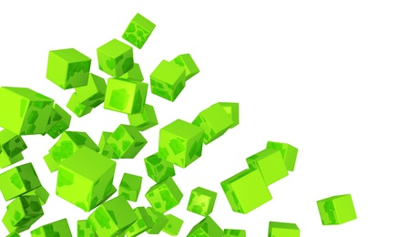 backplate: Banner - Flying dice Green Stock Photo