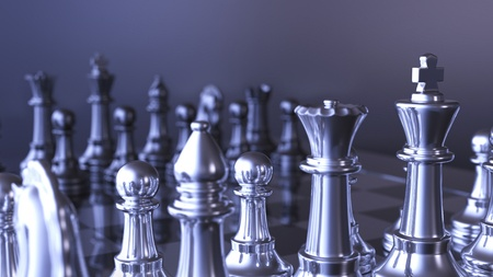 Silver Blue chess pieces photo
