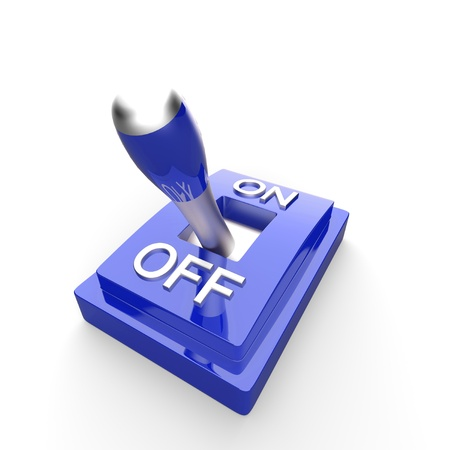 The blue 3D toggle switch - OFF Stock Photo - 14620953