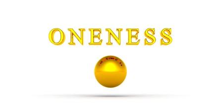 oneness: Golden Ball Unit� 01 con il testo 3D Archivio Fotografico