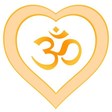Herz-Mandala OM-Symbol rot orange gelb Standard-Bild