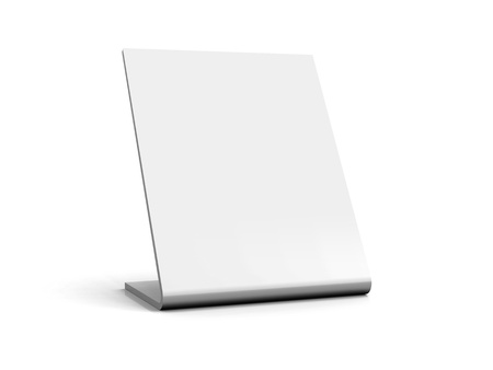 3D blank table sign - White 002 Stock Photo