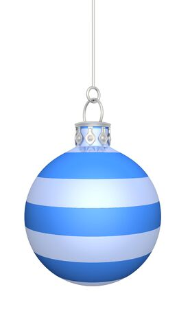 snow crystal: Christmas ball - blue white striped hanging