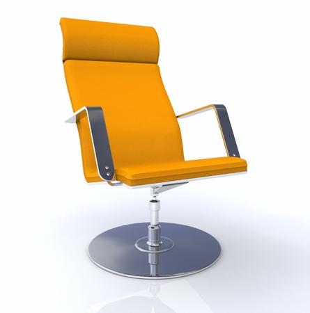 empty chair: 3D designer executive chair Silver Orange