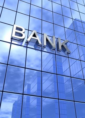 Blaue Spiegel Gebäude - Bank vertikale Konzept