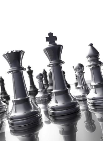 caballo de ajedrez: Tablero de ajedrez detalle en la luz de fondo - aislado Foto de archivo