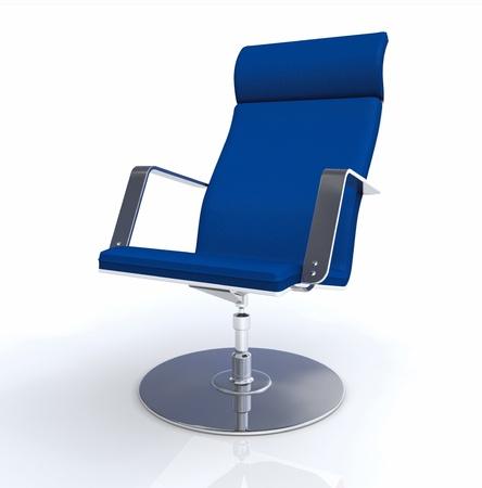 empty chair: 3D designer executive chair Silver Blue Stock Photo