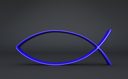 ichthys: 3D fish symbol on Blue Black 05