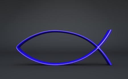 jesus fish: 3D fish symbol on Blue Black 05