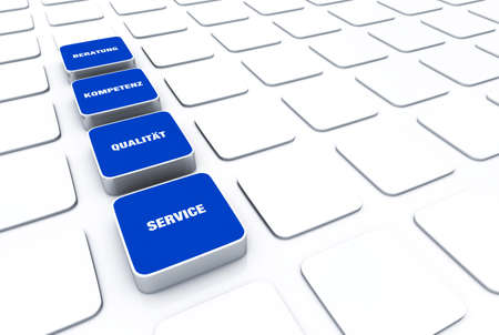 customercare: Blue cube concept - quality consulting expertise service 7 Stock Photo