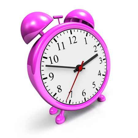 ticking: The pink alarm clock in 3D Stock Photo
