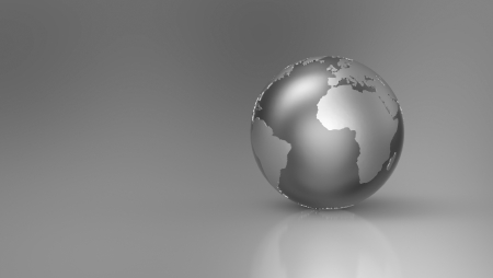 Silver globe against a gray background - Europe Stock Photo - 14687839
