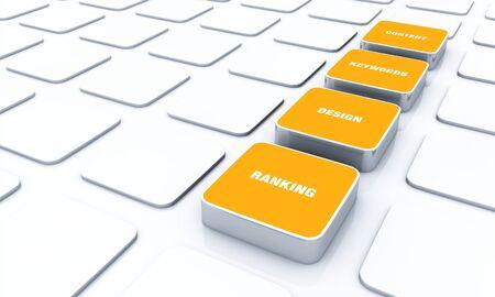 Orange 3D Designs - Design Content Keywords ranking 3 Stock Photo - 14661257