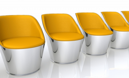 Club chairs in a row - orange silver photo