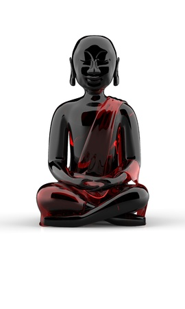 Buddha statue made of glas - black and red Stock Photo - 14688488