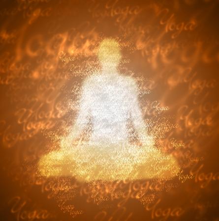 chakras: Contraste Yoga - Blanco Marr�n Foto de archivo