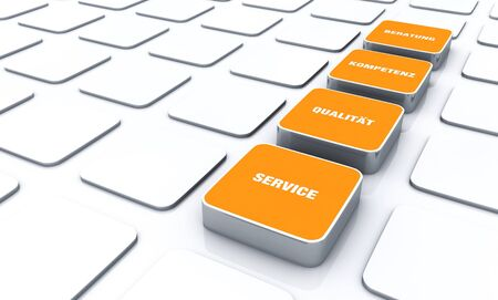cuboid: Orange cube concept - quality consulting expertise Service 3 Stock Photo