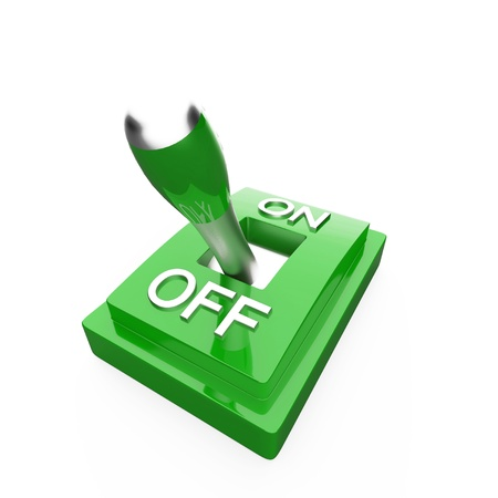 The green 3D toggle switch - OFF photo