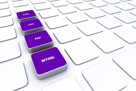 3D Designs Purple - HTML CSS PHP MYSQL 9 Stock Photo - 14688632