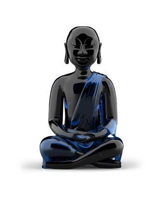 Buddha statue made of glass - black and blue photo