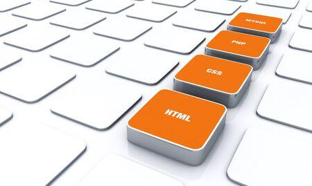 3D Orange Pads - HTML CSS PHP MYSQL 8 Stock Photo - 14688664