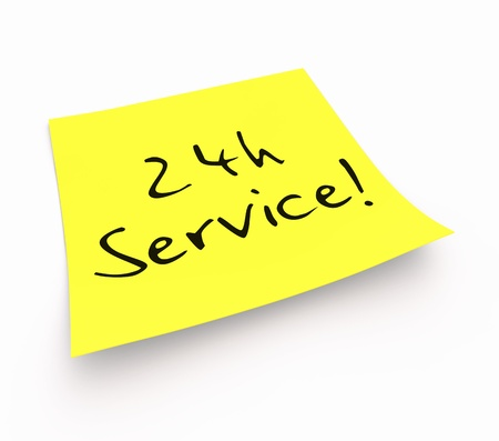 customercare: Notes - 24-hour service Stock Photo