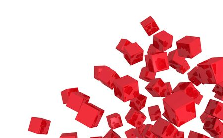 Flying Cubes Blend - Red isolated photo