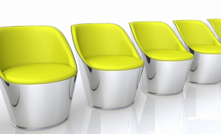Club chairs in a row - yellow silver photo